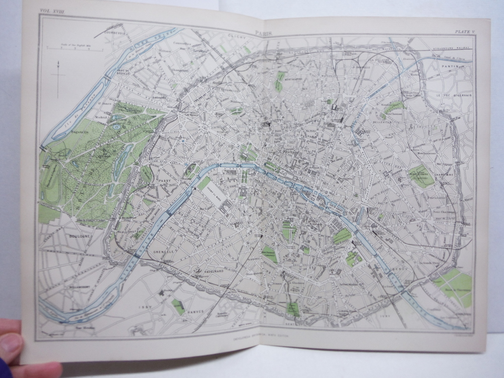 Antique Map of Paris from Encyclopaedia Britannica,  Ninth Edition Vol. XVIII Pl