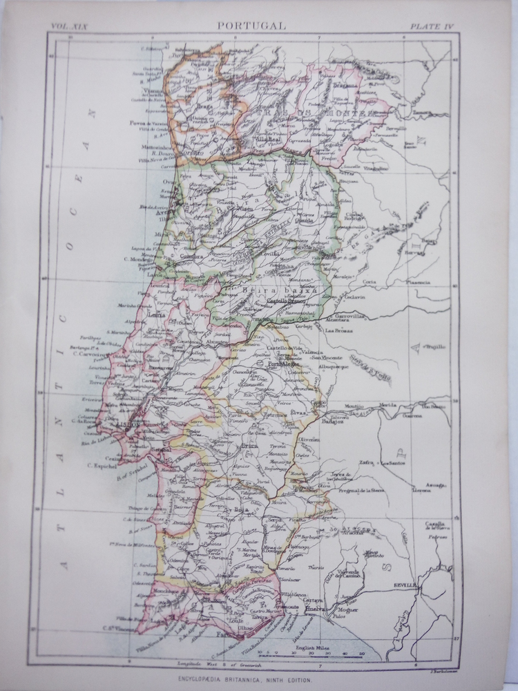 Antique Maps of Portugal from Encyclopaedia Britannica,  Ninth Edition Vol. XIX