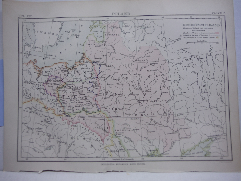 Antique Maps of Poland from Encyclopaedia Britannica,  Ninth Edition Vol. XIX Pl