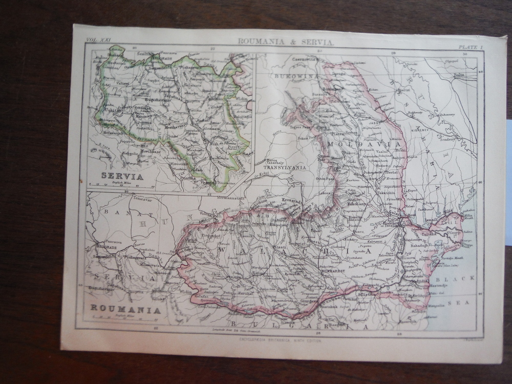 Antique Maps of Roumania & Servia from Encyclopaedia Britannica,  Ninth Edition