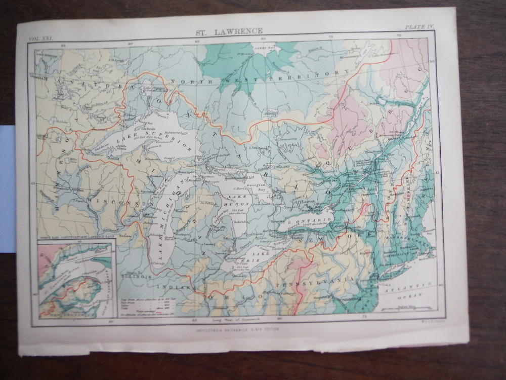 Antique Map of St. Lawrence from Encyclopaedia Britannica,  Ninth Edition Vol. X