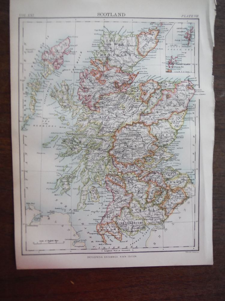 Antique Map of Scotland from Encyclopaedia Britannica,  Ninth Edition Vol. XXI P