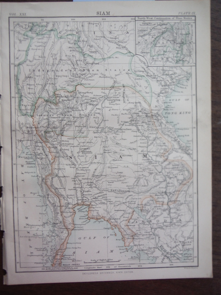 Antique Map of Siam from Encyclopaedia Britannica,  Ninth Edition Vol. XXI Plate