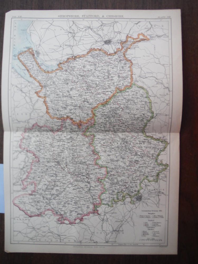 Antique Map of Shropshiire, Stafford, & Cheshire from Encyclopaedia Britannica,