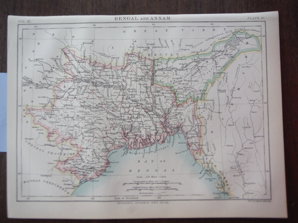 Antique Map of Bengal and Assam from Encyclopaedia Britannica,  Ninth Edition Vo