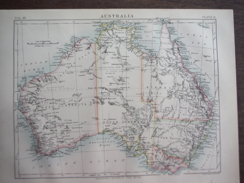 Antique Map of Australia from Encyclopaedia Britannica,  Ninth Edition Vol. III