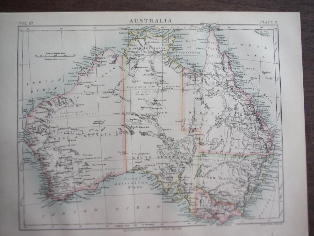 Antique Map of Australia from Encyclopaedia Britannica,  Ninth Edition Vol. III