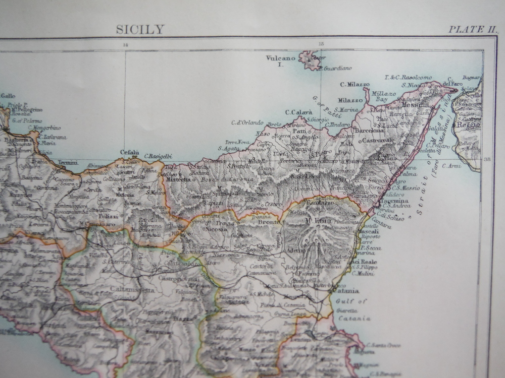 Antique Map of Sicily from Encyclopaedia Britannica,  Ninth Edition Vol. XXII Pl