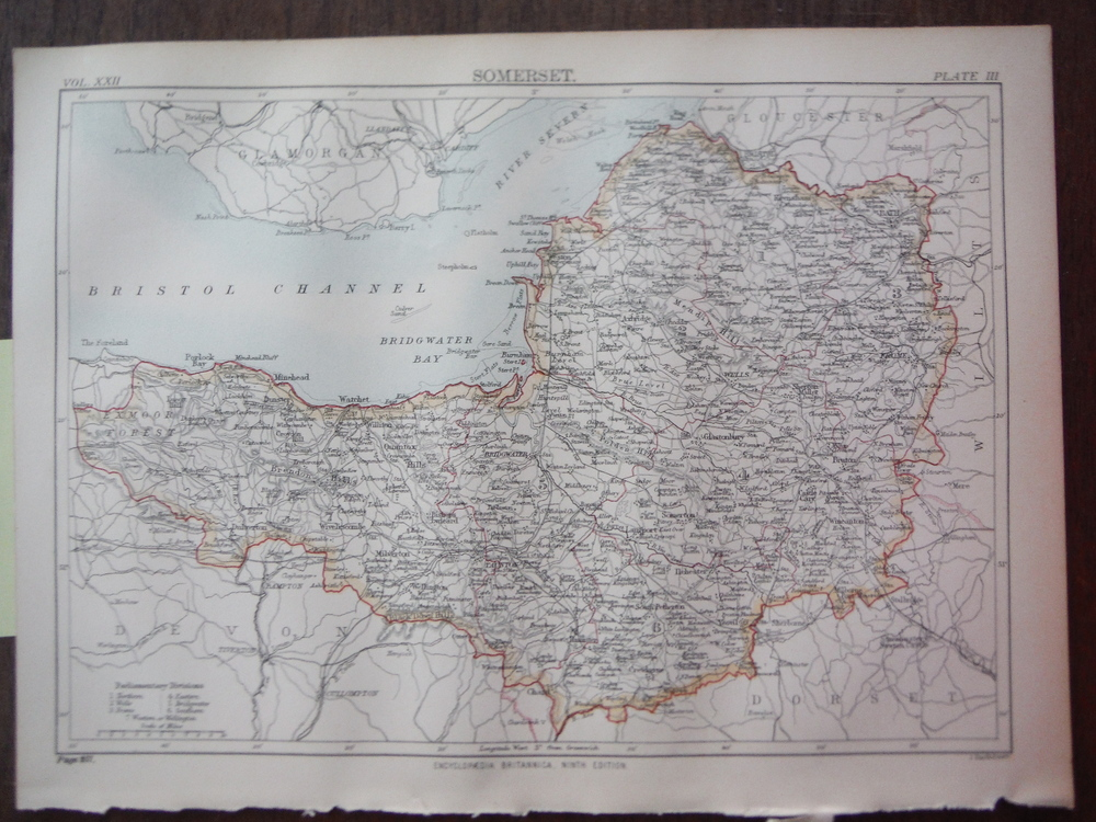Antique Map of Somerset from Encyclopaedia Britannica,  Ninth Edition Vol. XXII