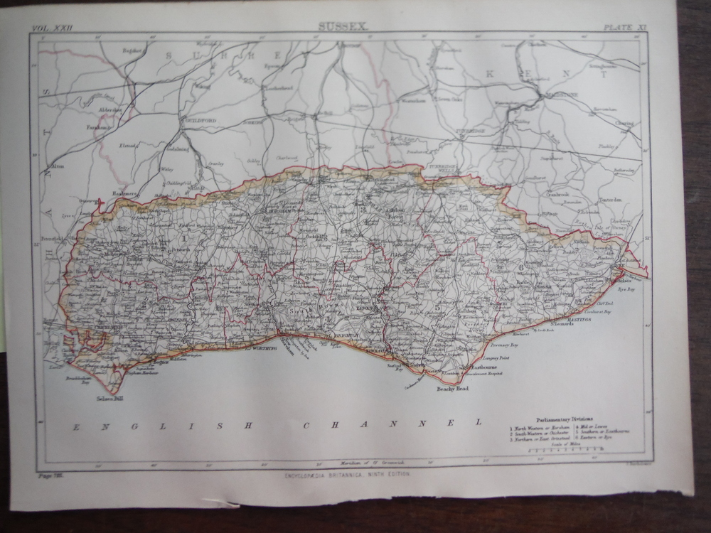 Antique Map of  Sussex from Encyclopaedia Britannica,  Ninth Edition Vol. XXII P
