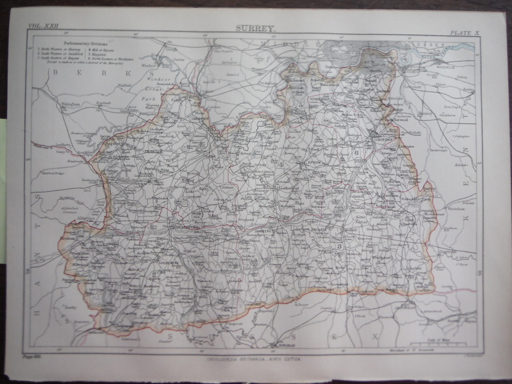 Image 0 of Antique Map of  Surrey from Encyclopaedia Britannica,  Ninth Edition Vol. XXII P