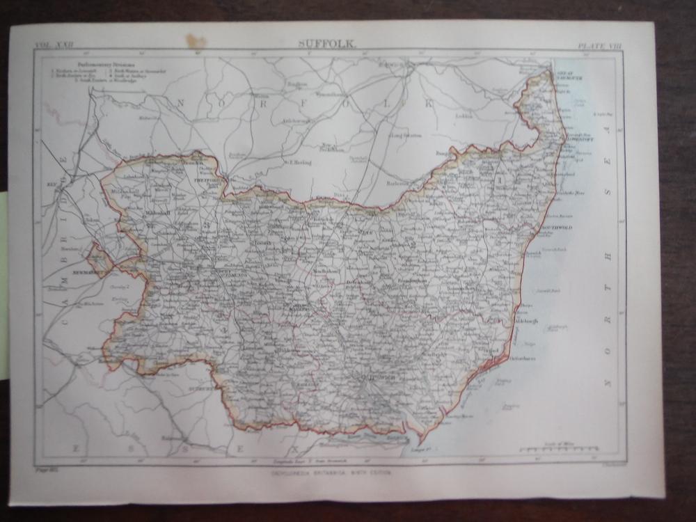 Antique Map of  Suffolk from Encyclopaedia Britannica,  Ninth Edition Vol. XXII