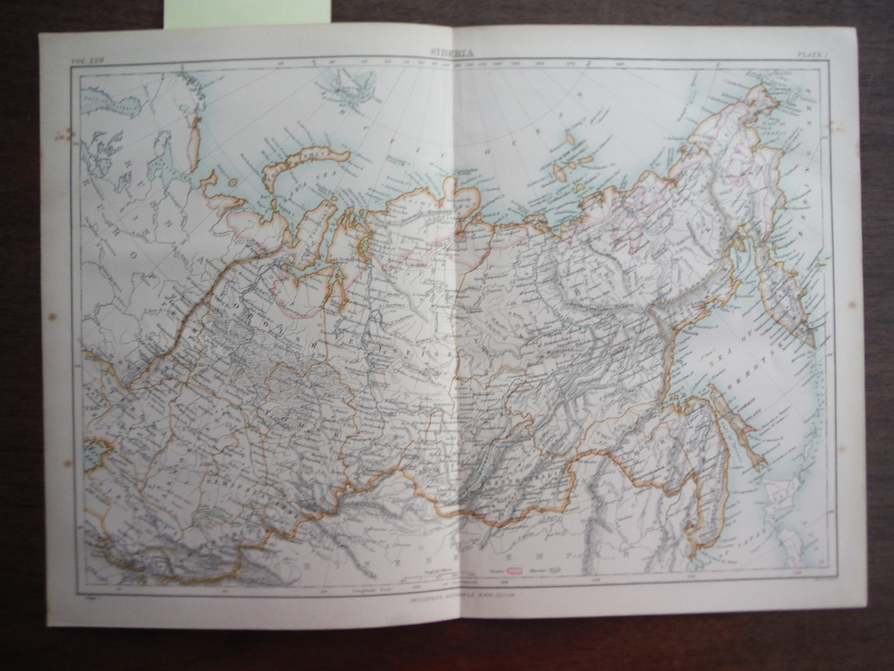 Antique Map of  Siberia from Encyclopaedia Britannica,  Ninth Edition Vol. XXII