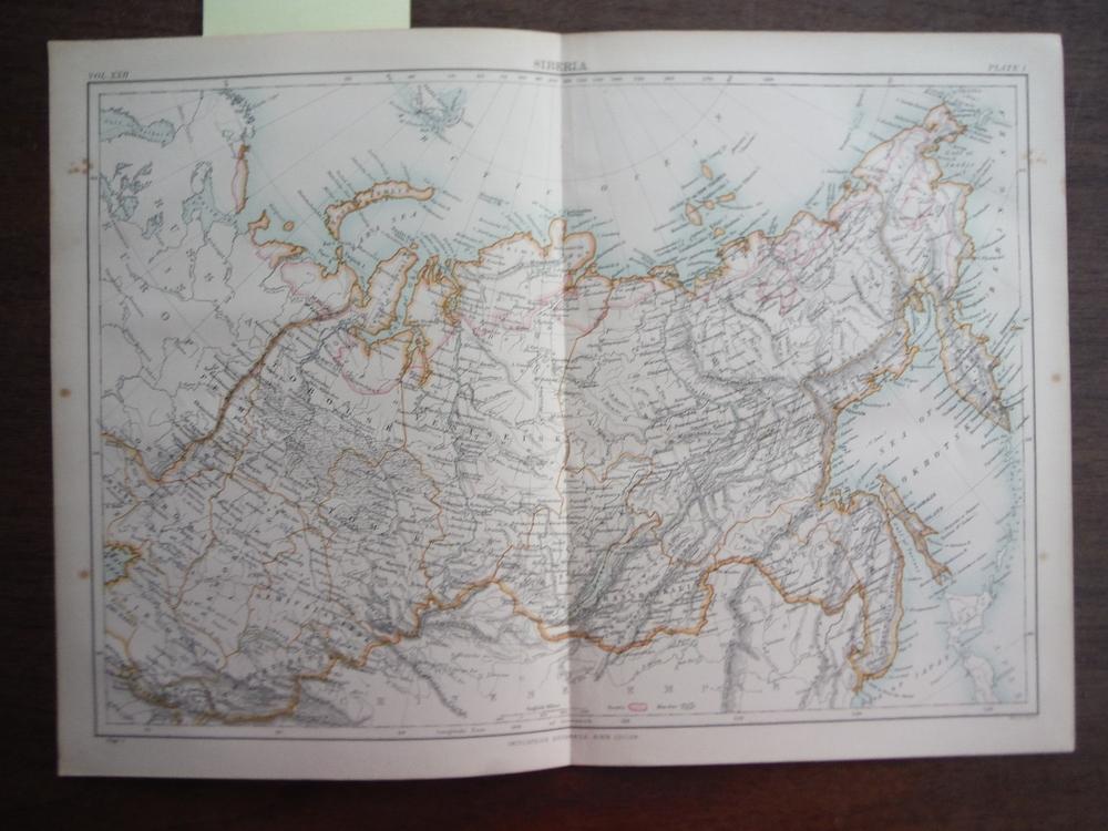 Antique Map of  Siberia from Encyclopaedia Britannica,  Ninth Edition Vol. XXII