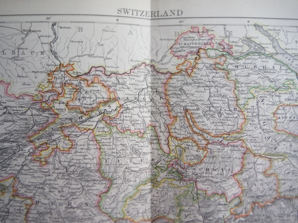 Image 1 of Antique Map of  Switzerland from Encyclopaedia Britannica,  Ninth Edition Vol. X