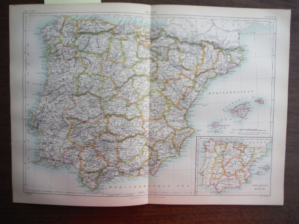 Antique Map of  Spain from Encyclopaedia Britannica,  Ninth Edition Vol. XXII Pl