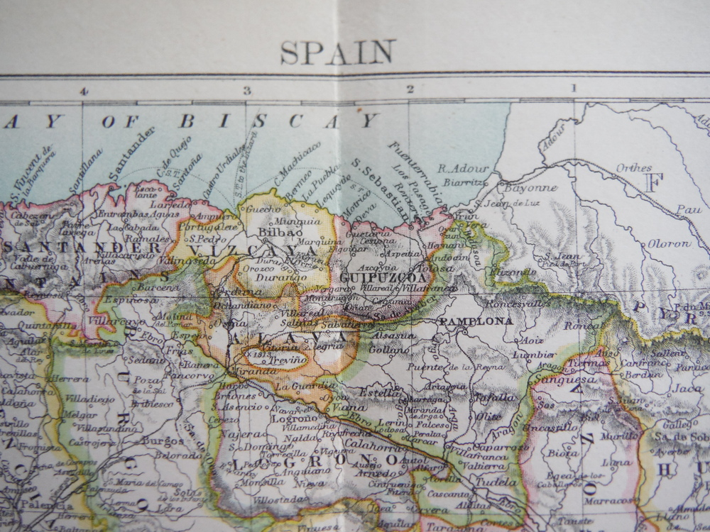 Image 1 of Antique Map of  Spain from Encyclopaedia Britannica,  Ninth Edition Vol. XXII Pl