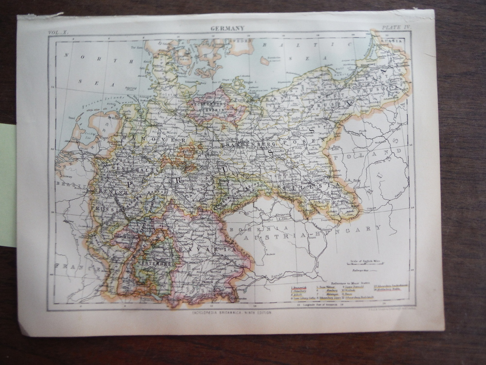Antique Map of Germany from Encyclopaedia Britannica,  Ninth Edition Vol. X Plat