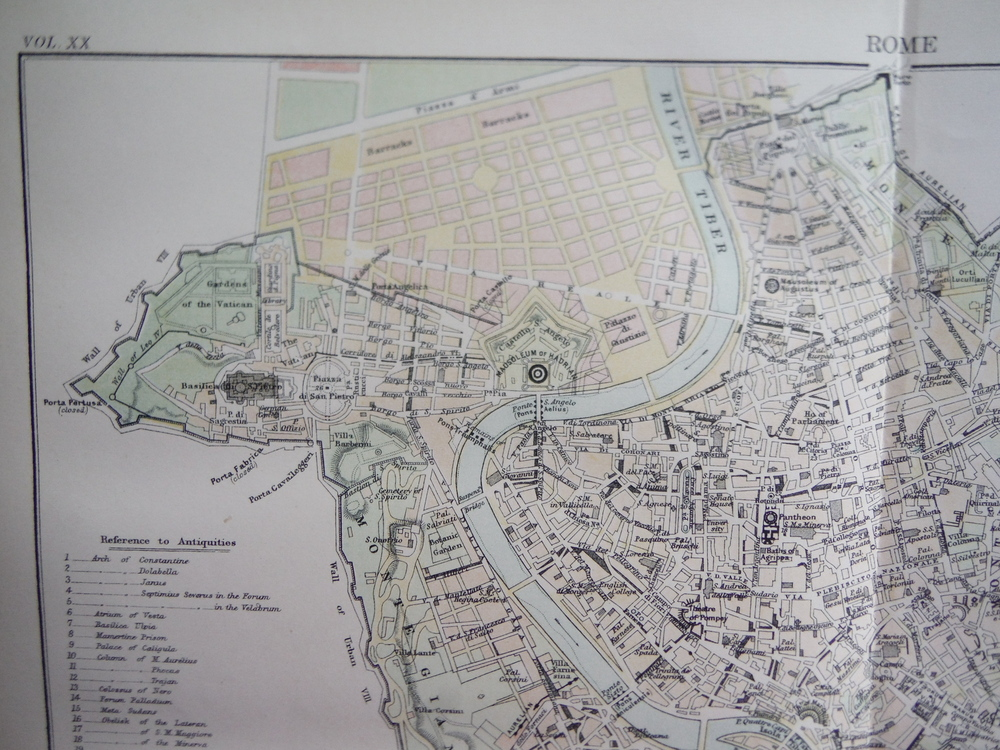 Image 1 of Antique Map of Modern Rome from Encyclopaedia Britannica,  Ninth Edition Vol. XX