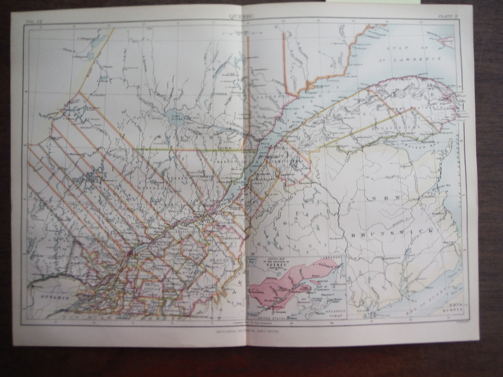 Antique Map of Quebec from Encyclopaedia Britannica,  Ninth Edition Vol. XX Plat