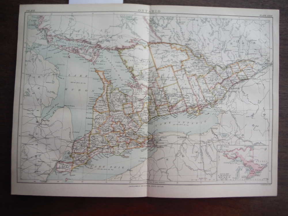 Antique Map of Ontario from Encyclopaedia Britannica,  Ninth Edition Vol. XVII P