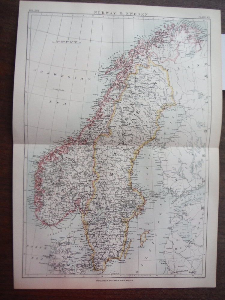 Antique Map of Norway and Sweden from Encyclopaedia Britannica,  Ninth Edition V