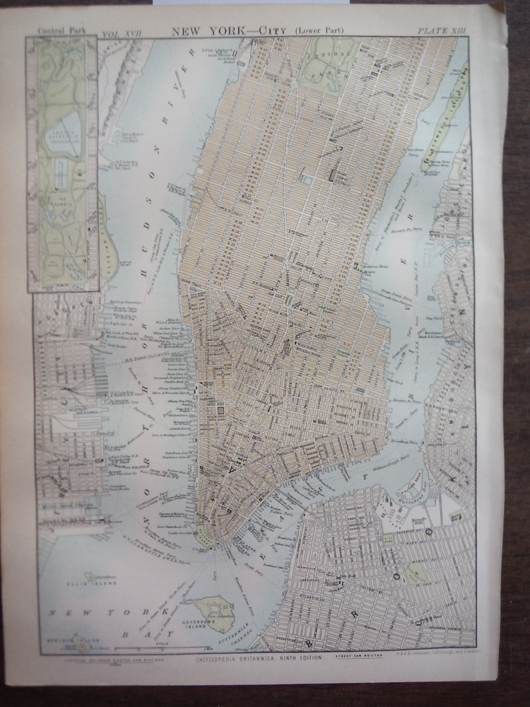 Antique Map of New York City (Lower Part) from Encyclopaedia Britannica,  Ninth