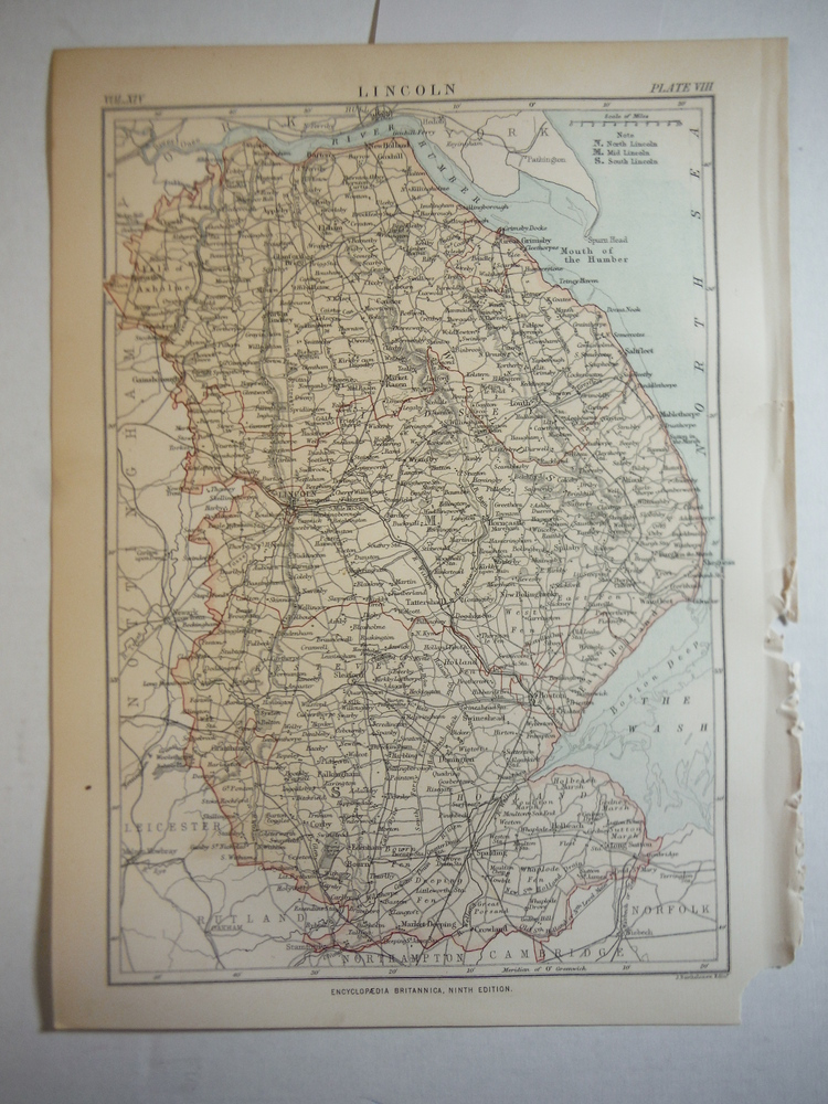Antique Map of Lincoln  from Encyclopaedia Britannica,  Ninth Edition Vol. XIV P