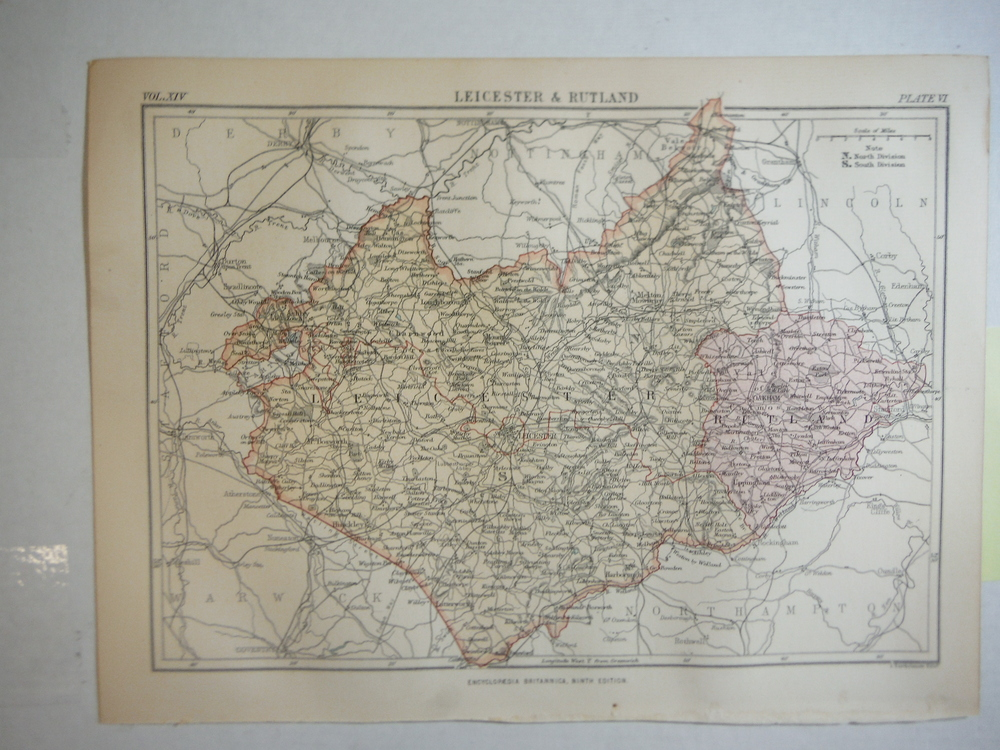 Antique Map of Leicester & Rutland  from Encyclopaedia Britannica,  Ninth Editio