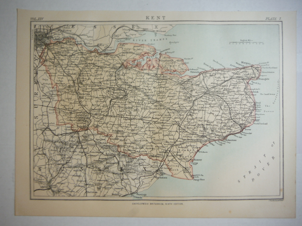 Antique Map of Kent  from Encyclopaedia Britannica,  Ninth Edition Vol. XIV Plat