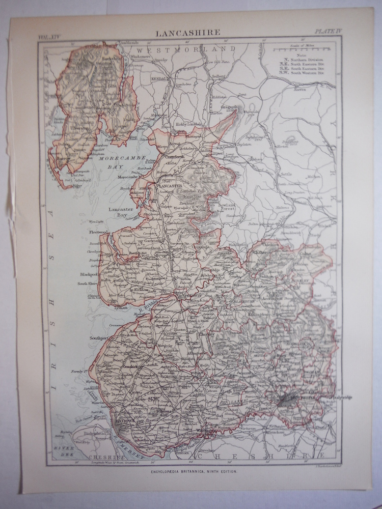 Antique Map of Lancashire from Encyclopaedia Britannica,  Ninth Edition Vol. XIV