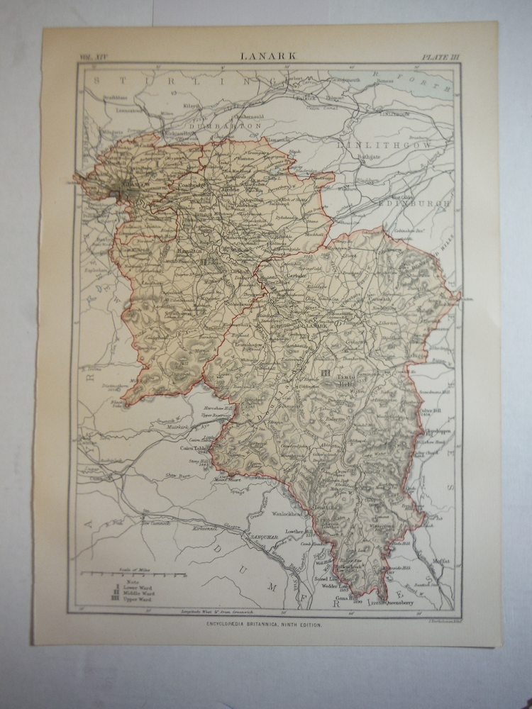 Image 0 of Antique Map of Lanark from Encyclopaedia Britannica,  Ninth Edition Vol. XIV Pla