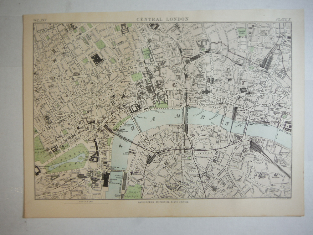 Antique Map of Central London from Encyclopaedia Britannica,  Ninth Edition Vol.