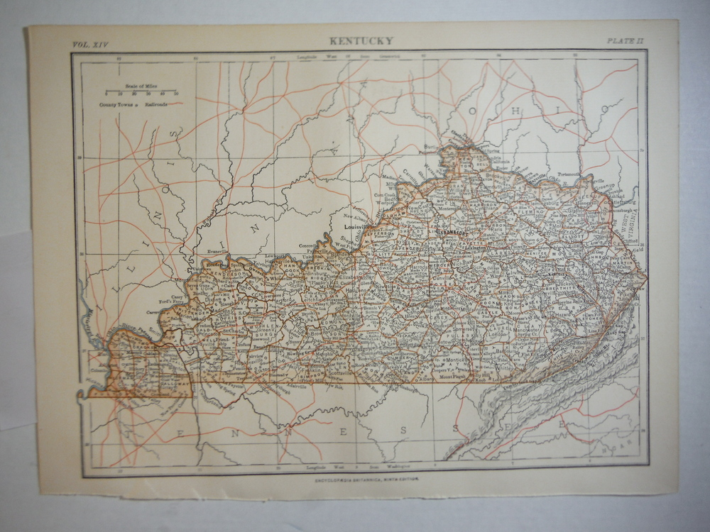 Image 0 of Antique Map of  Kentucky from Encyclopaedia Britannica,  Ninth Edition Vol. XIV