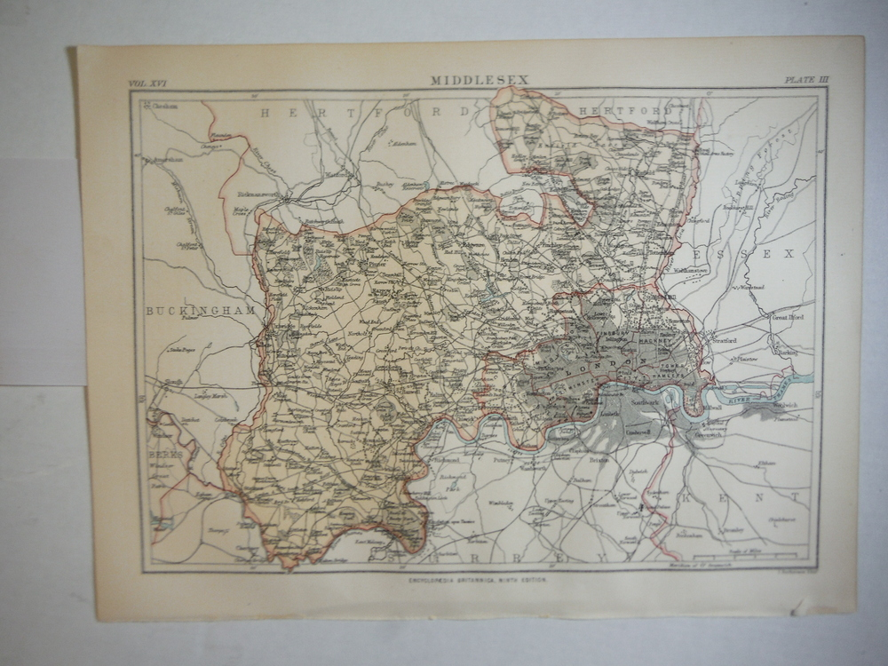 Antique Map of  Middlesex from Encyclopaedia Britannica,  Ninth Edition Vol. XVI