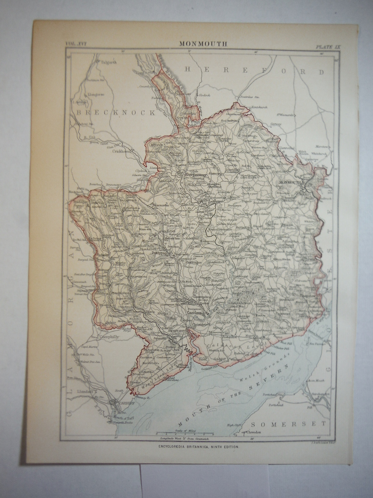 Antique Map of Monmuth from Encyclopaedia Britannica,  Ninth Edition Vol. XVI Pl