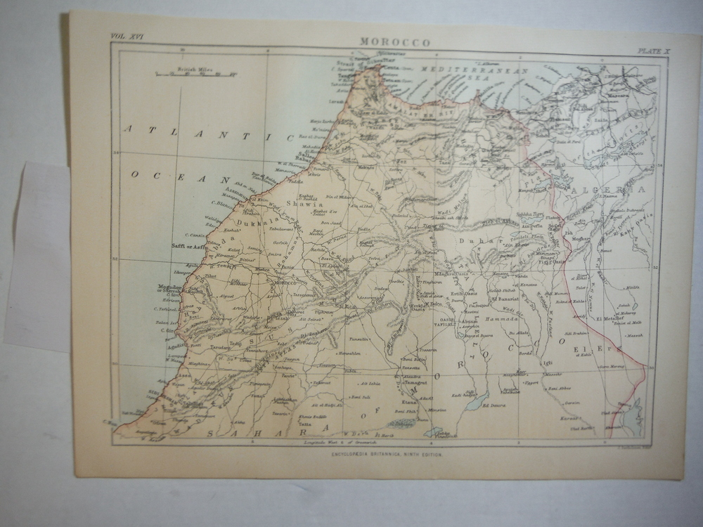 Antique Map of Morocco from Encyclopaedia Britannica,  Ninth Edition Vol. XVI Pl