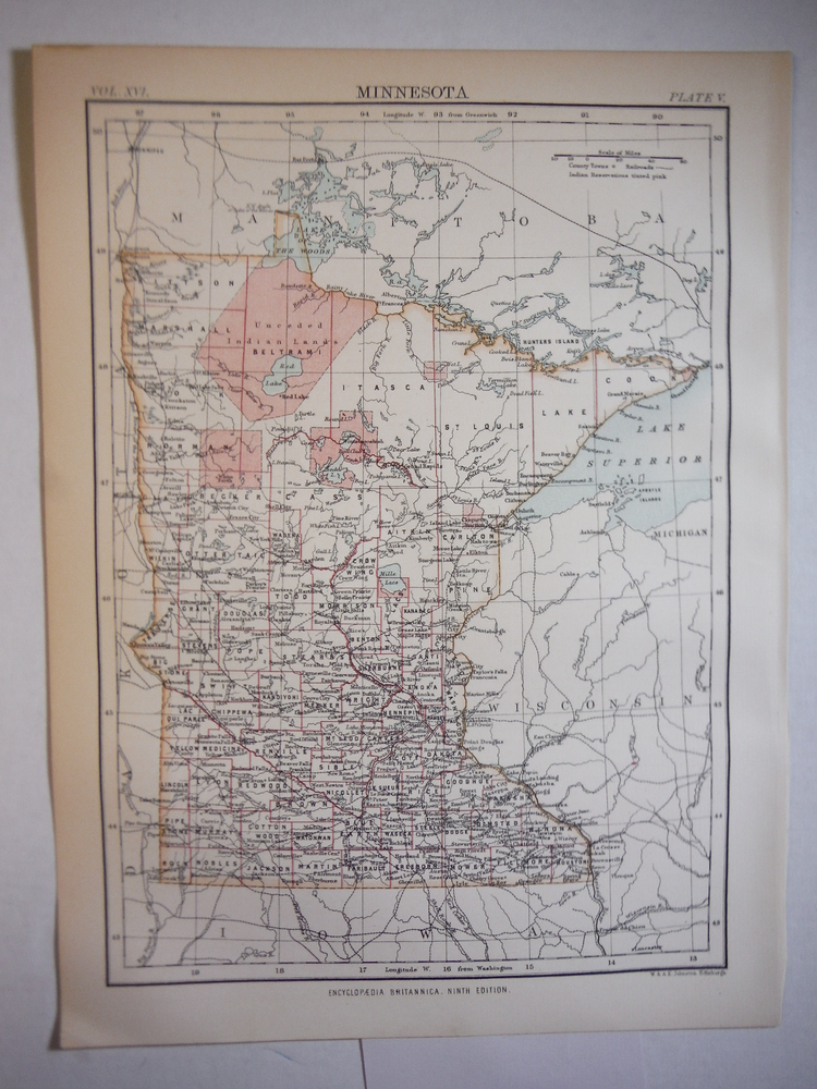 Antique Map of Minnesota from Encyclopaedia Britannica,  Ninth Edition Vol. XVI