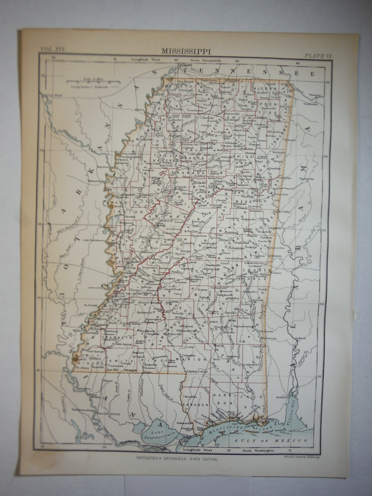 Antique Map of Mississippi from Encyclopaedia Britannica,  Ninth Edition Vol. XV