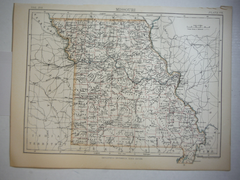 Antique Map of Missouri from Encyclopaedia Britannica,  Ninth Edition Vol. XVI P