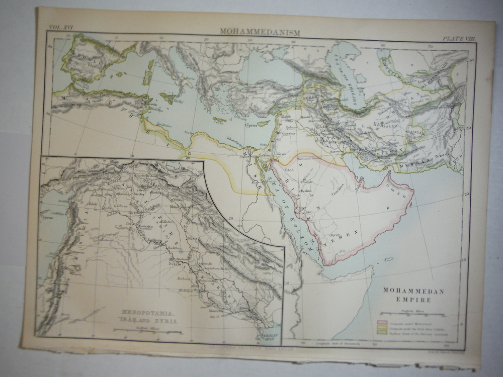 Antique Map of Mohammedanism from Encyclopaedia Britannica,  Ninth Edition Vol.