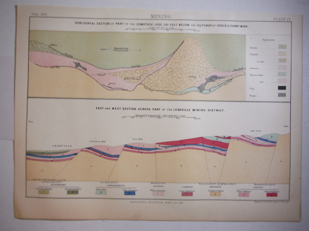 Antique Map of  Leadville Mining District/ Comstock Lode from Encyclopaedia Brit