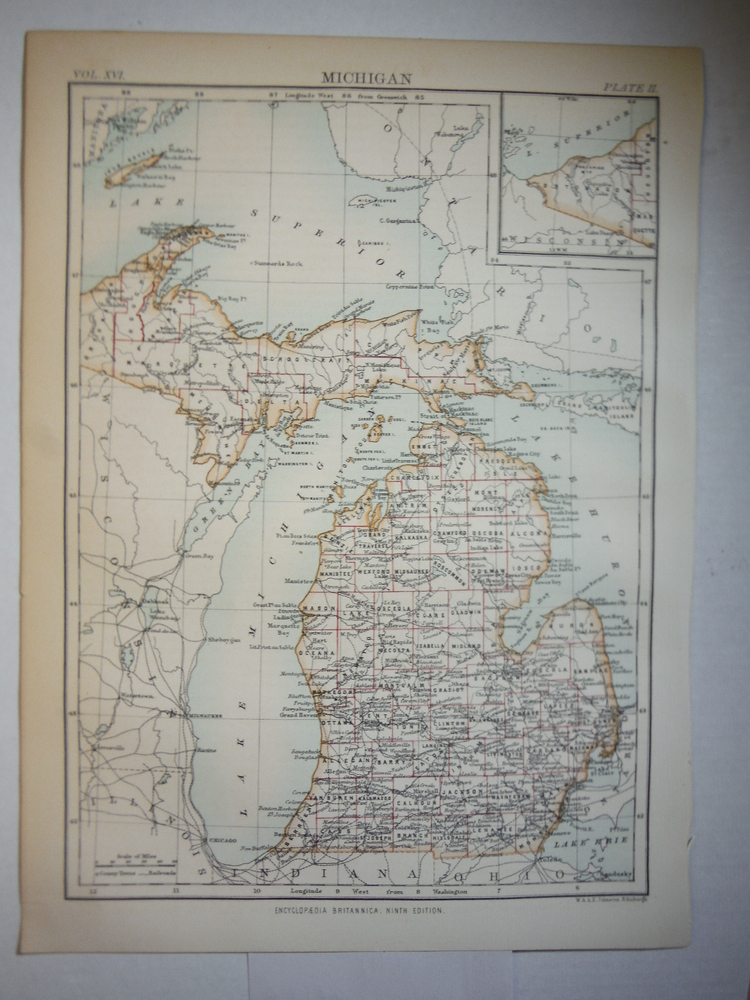 Antique Map of  Michigan from Encyclopaedia Britannica,  Ninth Edition Vol. XVI