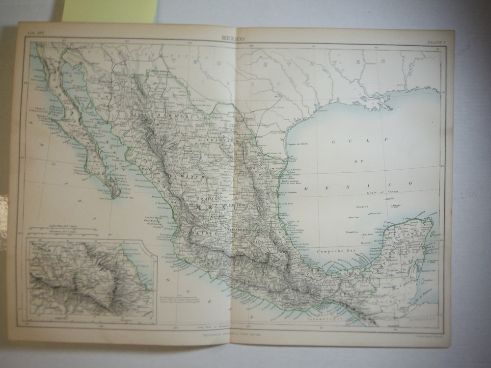 Antique Map of  Mexico from Encyclopaedia Britannica,  Ninth Edition Vol. XVI Pl
