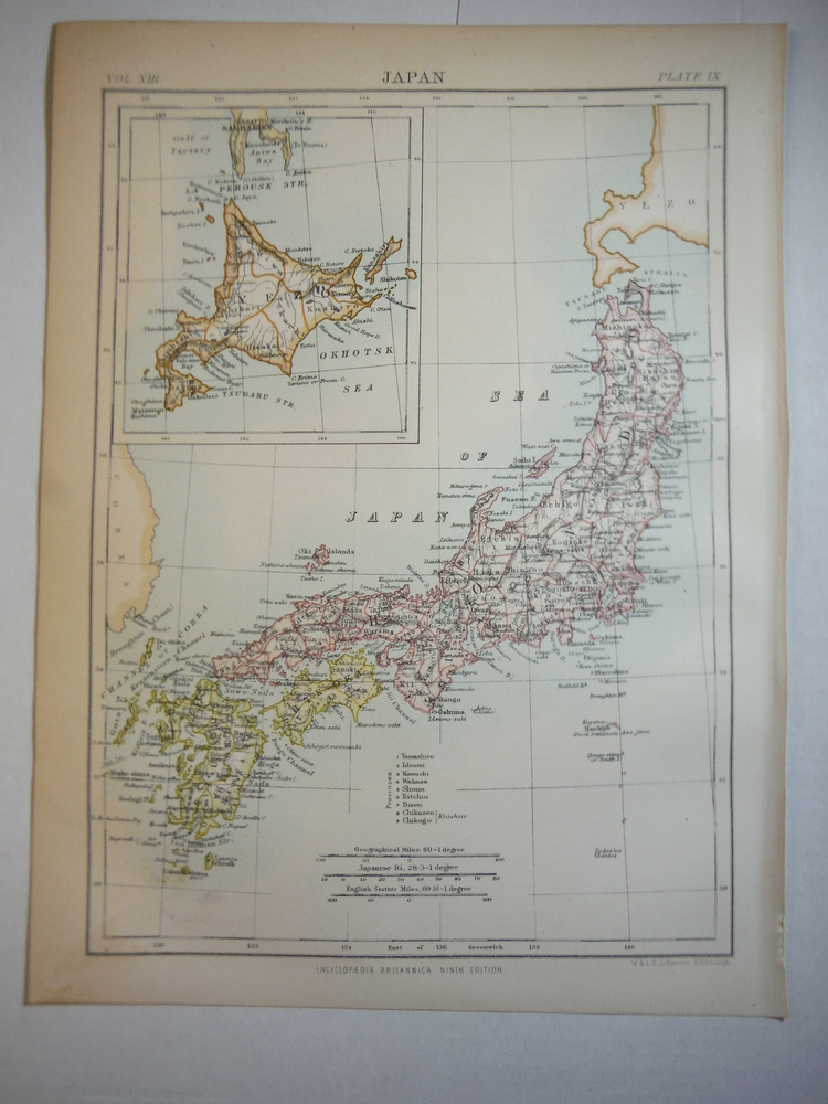 Antique Map of  Japan from Encyclopaedia Britannica,  Ninth Edition Vol. XIII Pl