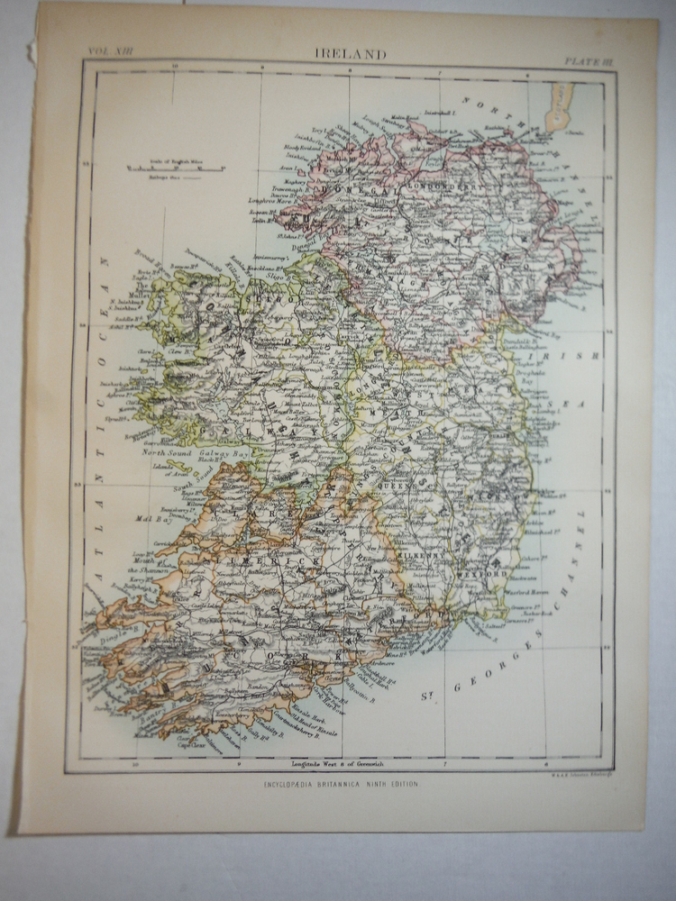 Antique Map of Ireland from Encyclopaedia Britannica,  Ninth Edition Vol. XIII P