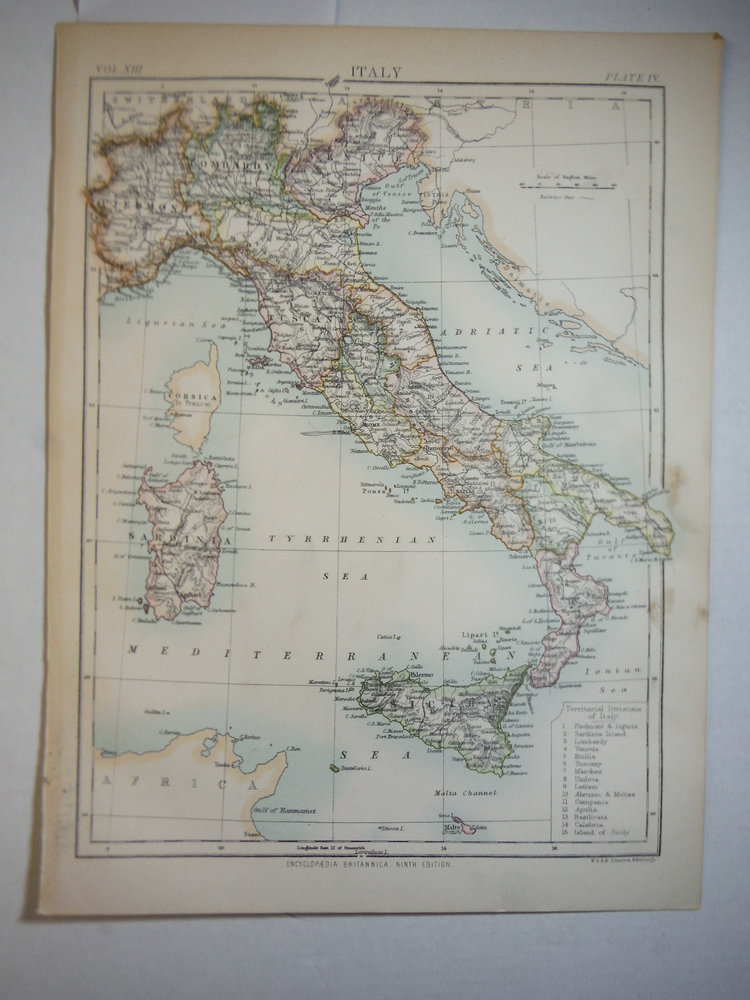 Antique Map of Italy from Encyclopaedia Britannica,  Ninth Edition Vol. XIII Pla