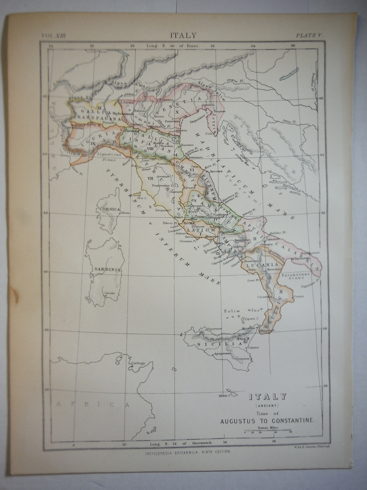 Antique Map of Italy(Acient Time of Augustus to Constantine from Encyclopaedia B