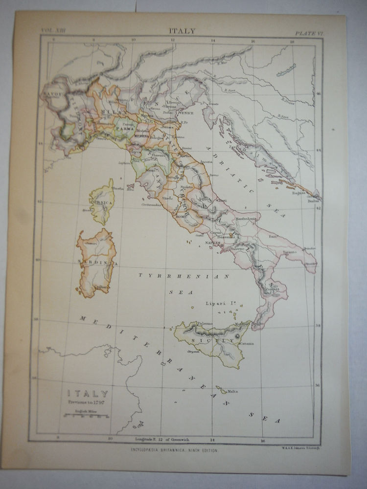 Antique Map of Italy Previous to 1797 from Encyclopaedia Britannica,  Ninth Edit