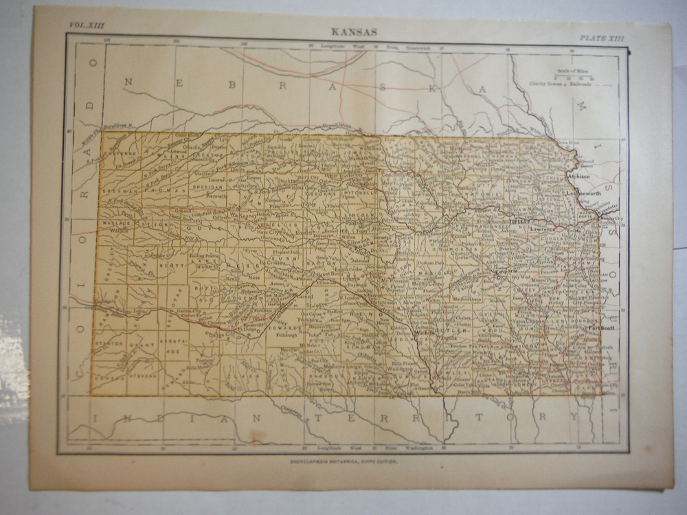 Antique Map of Kansas from Encyclopaedia Britannica,  Ninth Edition Vol. XIII Pl